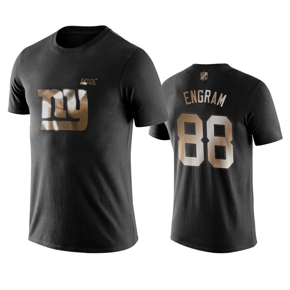 Giants #88 Evan Engram Black NFL Black Golden 100th Season T-Shirts