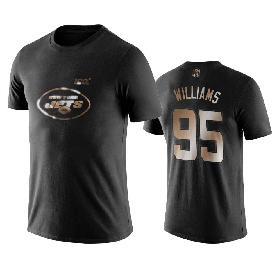 Jets #95 Guinnen Williams Black NFL Black Golden 100th Season T-Shirts
