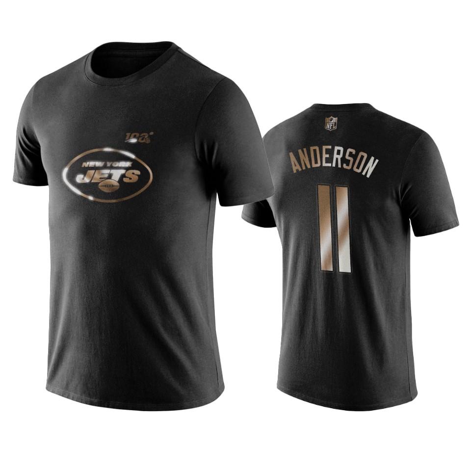 Jets #11 Robby Anderson Black NFL Black Golden 100th Season T-Shirts
