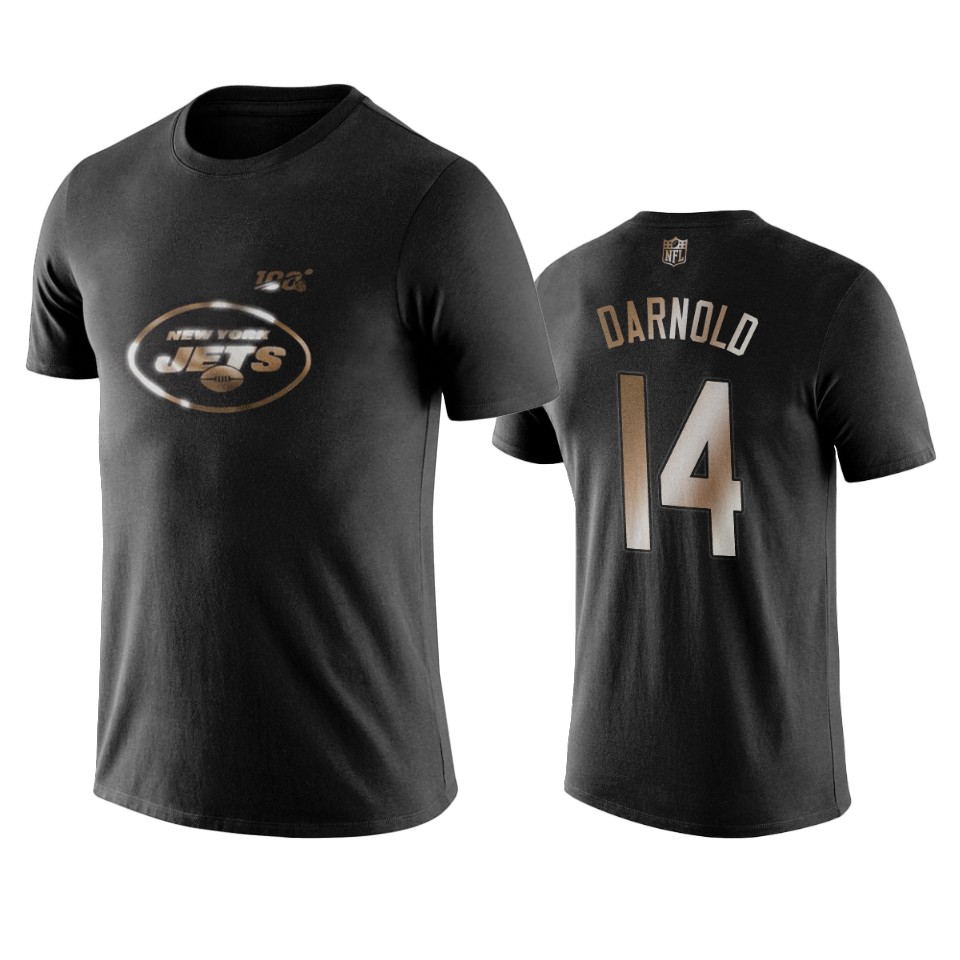 Jets #14 Sam Darnold Black NFL Black Golden 100th Season T-Shirts