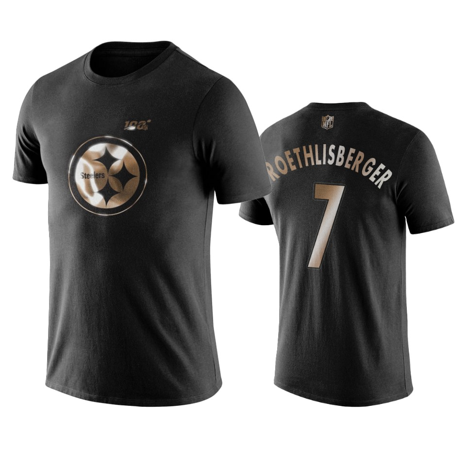 Steelers #7 Ben Roethlisberger Black NFL Black Golden 100th Season T-Shirts