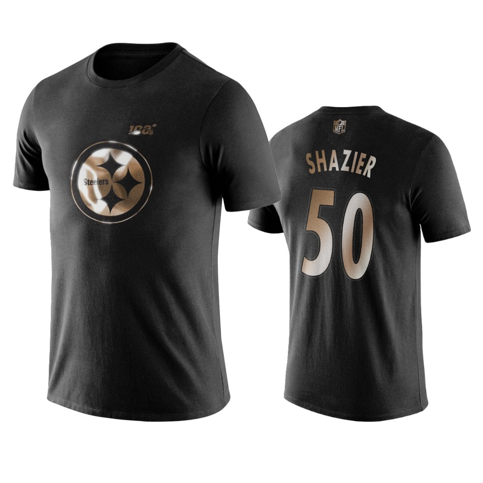 Steelers #50 Ryan Shazier Black NFL Black Golden 100th Season T-Shirts