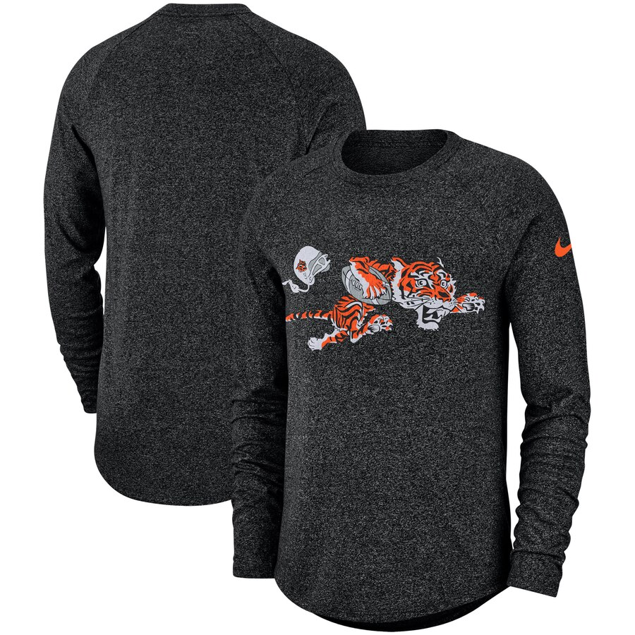 Cincinnati Bengals Nike Fan Gear Marled Historic Raglan Long Sleeve T-Shirt Black