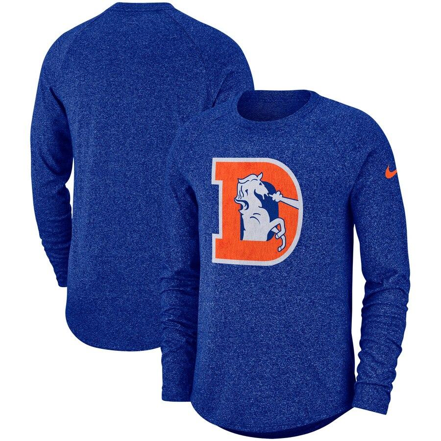 Denver Broncos Nike Fan Gear Marled Historic Raglan Long Sleeve T-Shirt Royal