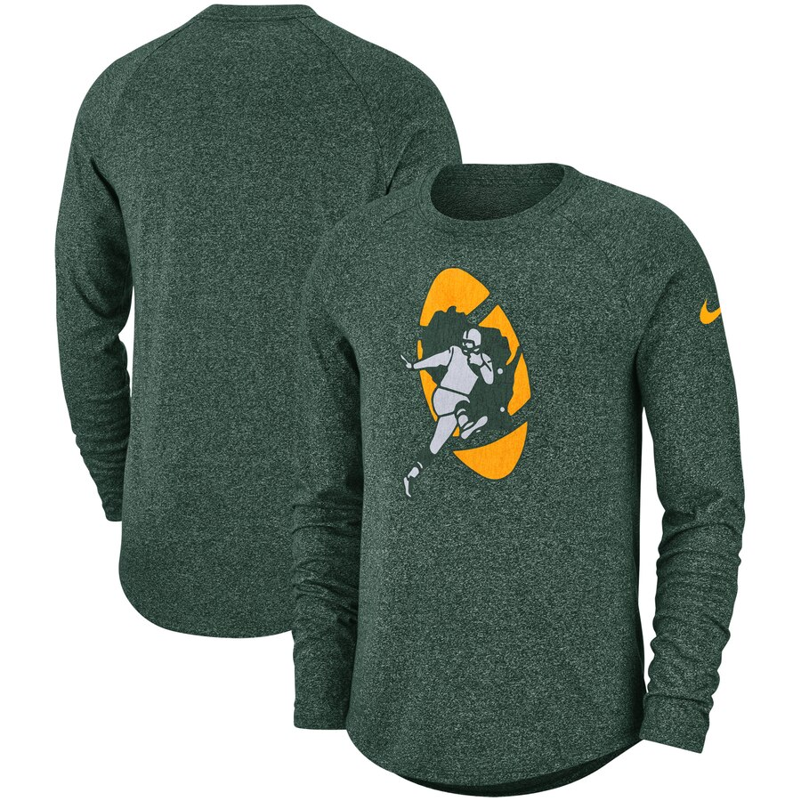 Green Bay Packers Nike Fan Gear Marled Historic Raglan Long Sleeve T-Shirt Green