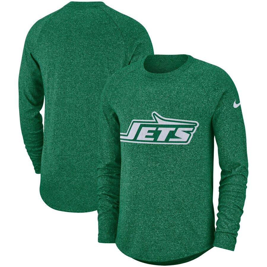 New York Jets Nike Fan Gear Marled Historic Raglan Long Sleeve T-Shirt Kelly Green
