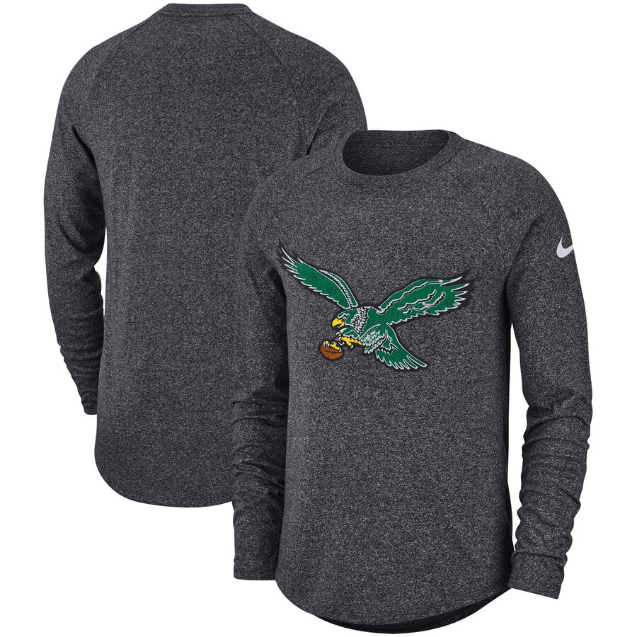 Philadelphia Eagles Nike Fan Gear Marled Historic Raglan Long Sleeve T-Shirt Charcoal
