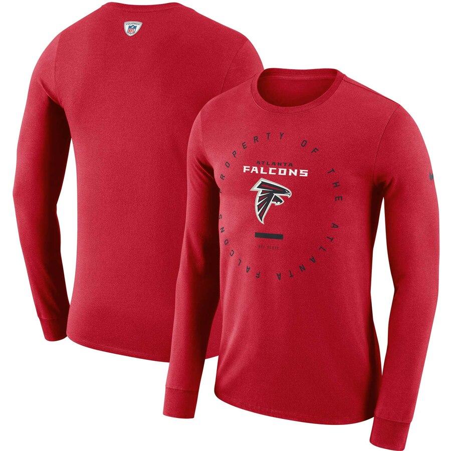 Atlanta Falcons Nike Property Of Sideline Performance Long Sleeve T-Shirt Red
