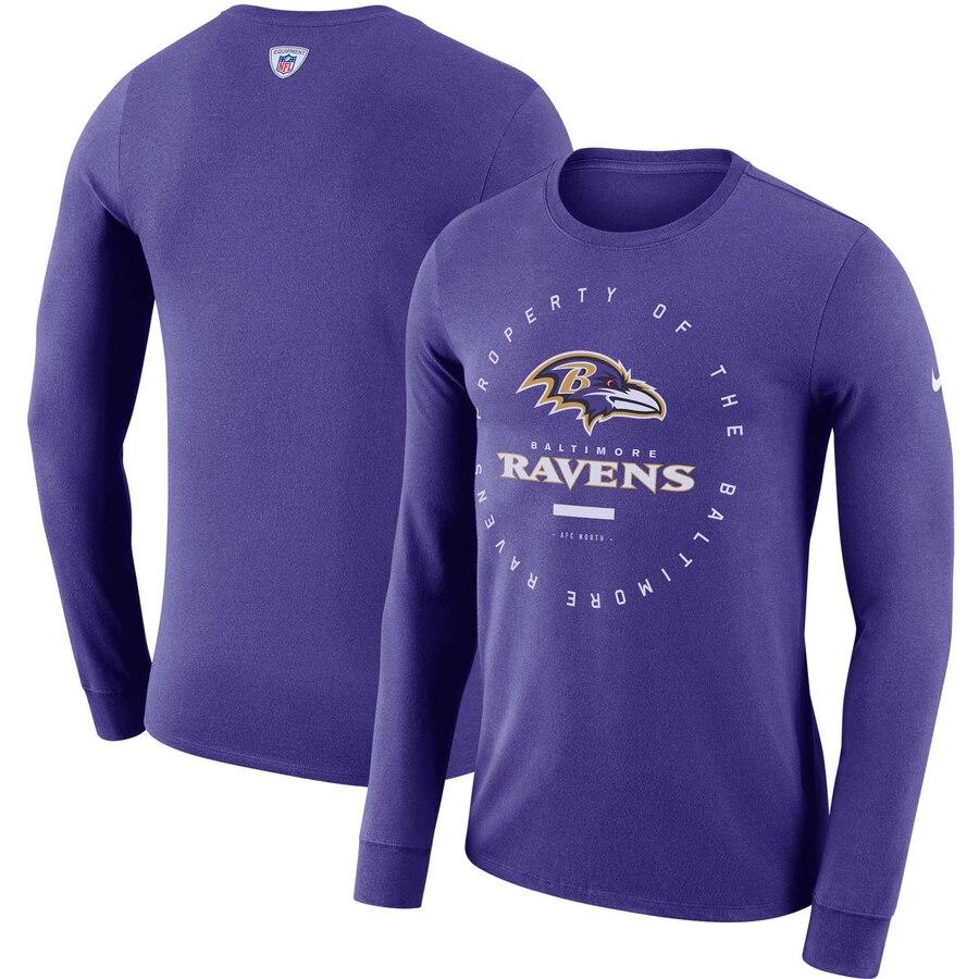 Baltimore Ravens Nike Property Of Sideline Performance Long Sleeve T-Shirt Purple