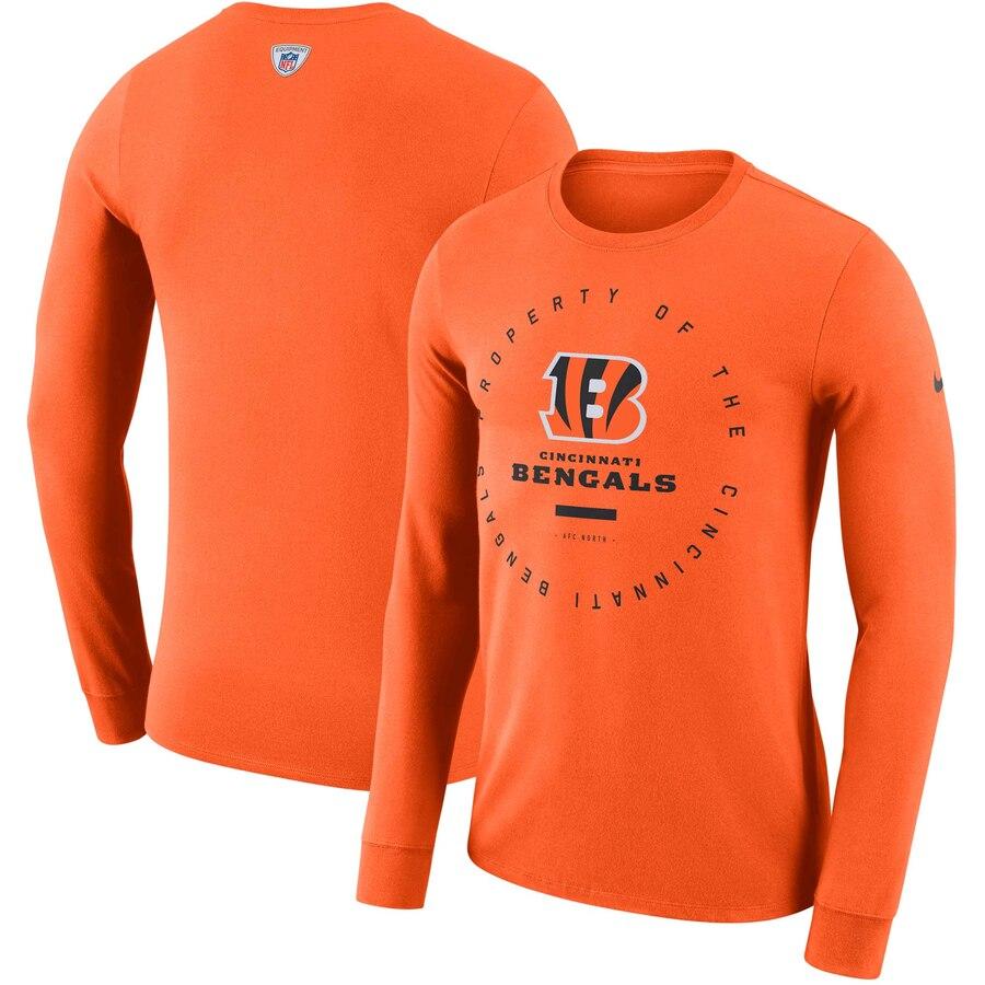 Cincinnati Bengals Nike Property Of Sideline Performance Long Sleeve T-Shirt Orange