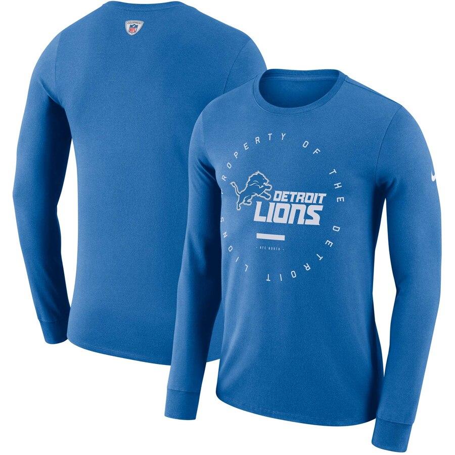 Detroit Lions Nike Property Of Sideline Performance Long Sleeve T-Shirt Blue