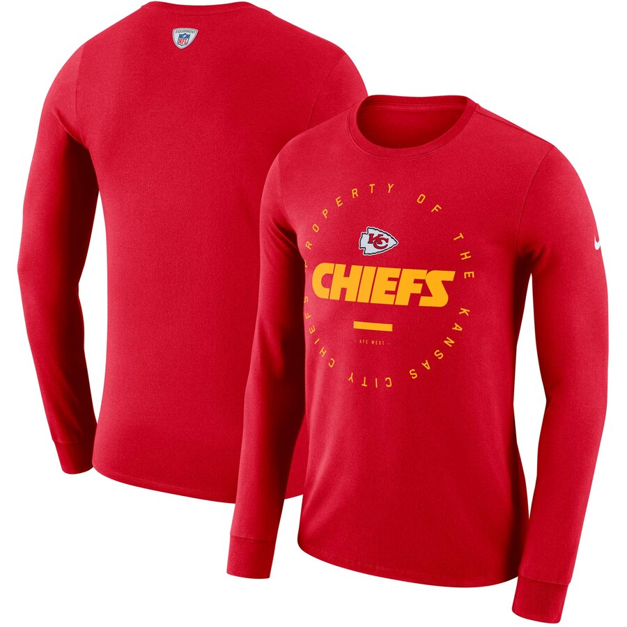 Kansas City Chiefs Nike Property Of Sideline Performance Long Sleeve T-Shirt Red
