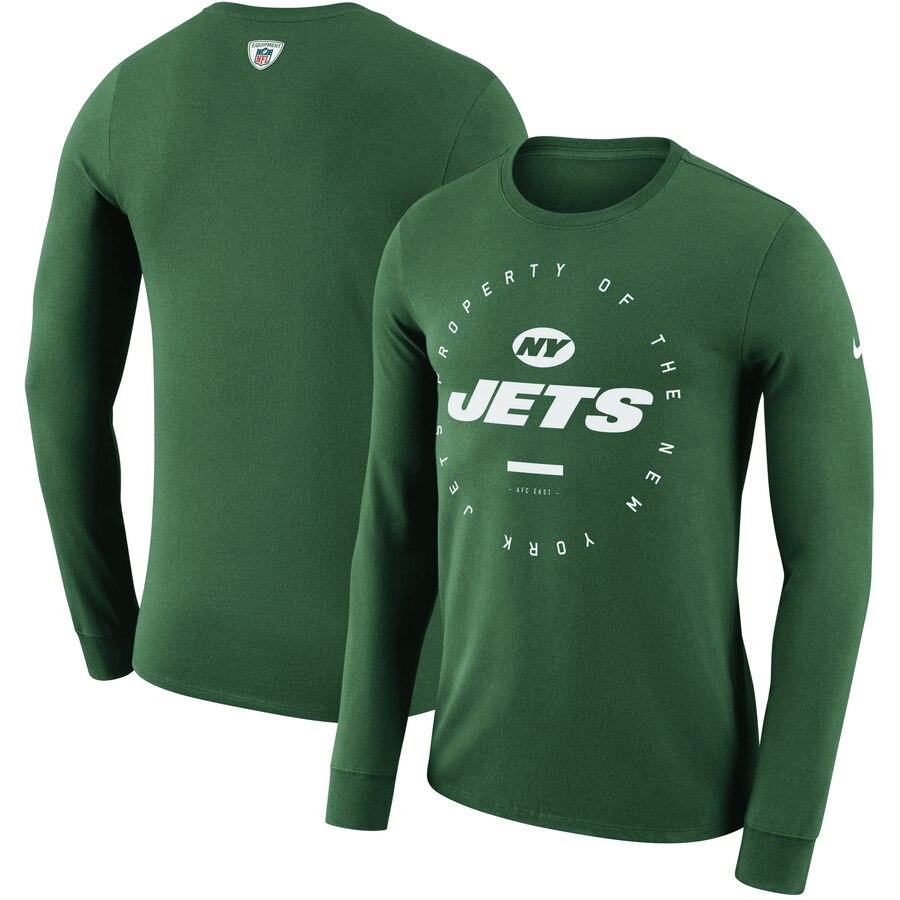New York Jets Nike Property Of Sideline Performance Long Sleeve T-Shirt Green