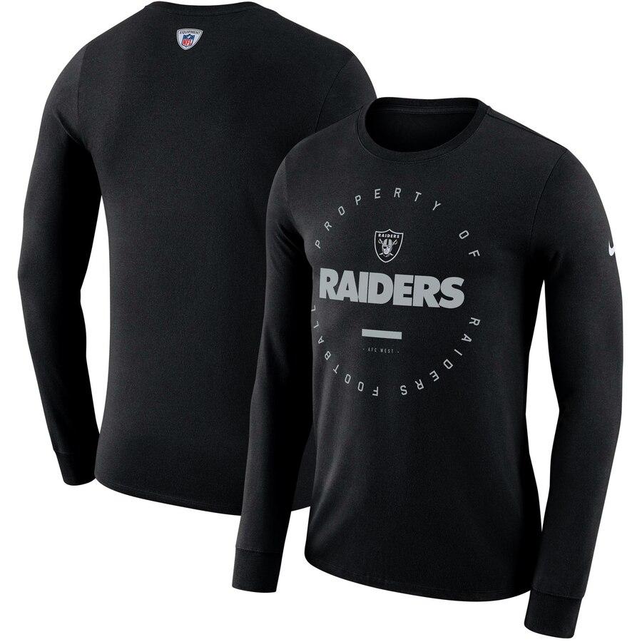 Oakland Raiders Nike Property Of Sideline Performance Long Sleeve T-Shirt Black