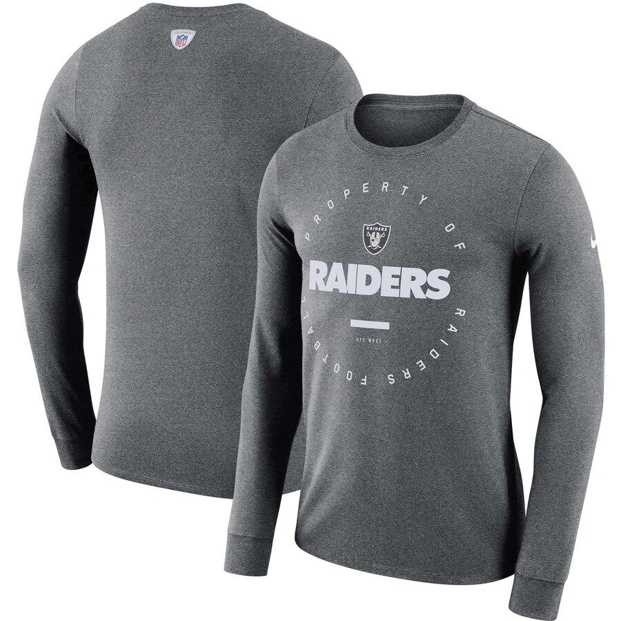 Oakland Raiders Nike Property Of Sideline Performance Long Sleeve T-Shirt Charcoal