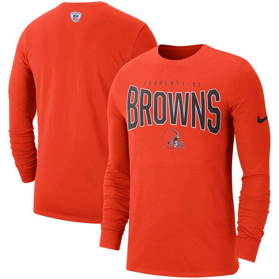 Cleveland Browns Nike Sideline Property Of Performance Long Sleeve T-Shirt Orange