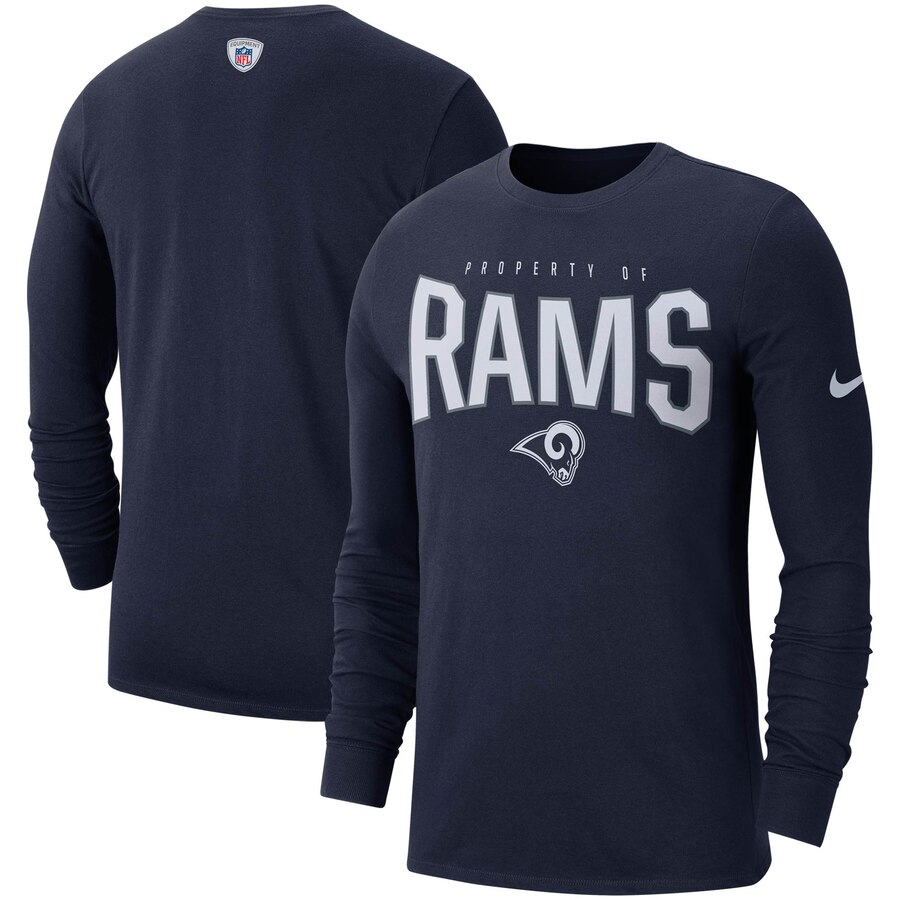 Los Angeles Rams Nike Sideline Property Of Performance Long Sleeve T-Shirt Navy