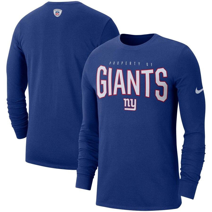 New York Giants Nike Sideline Property Of Performance Long Sleeve T-Shirt Royal