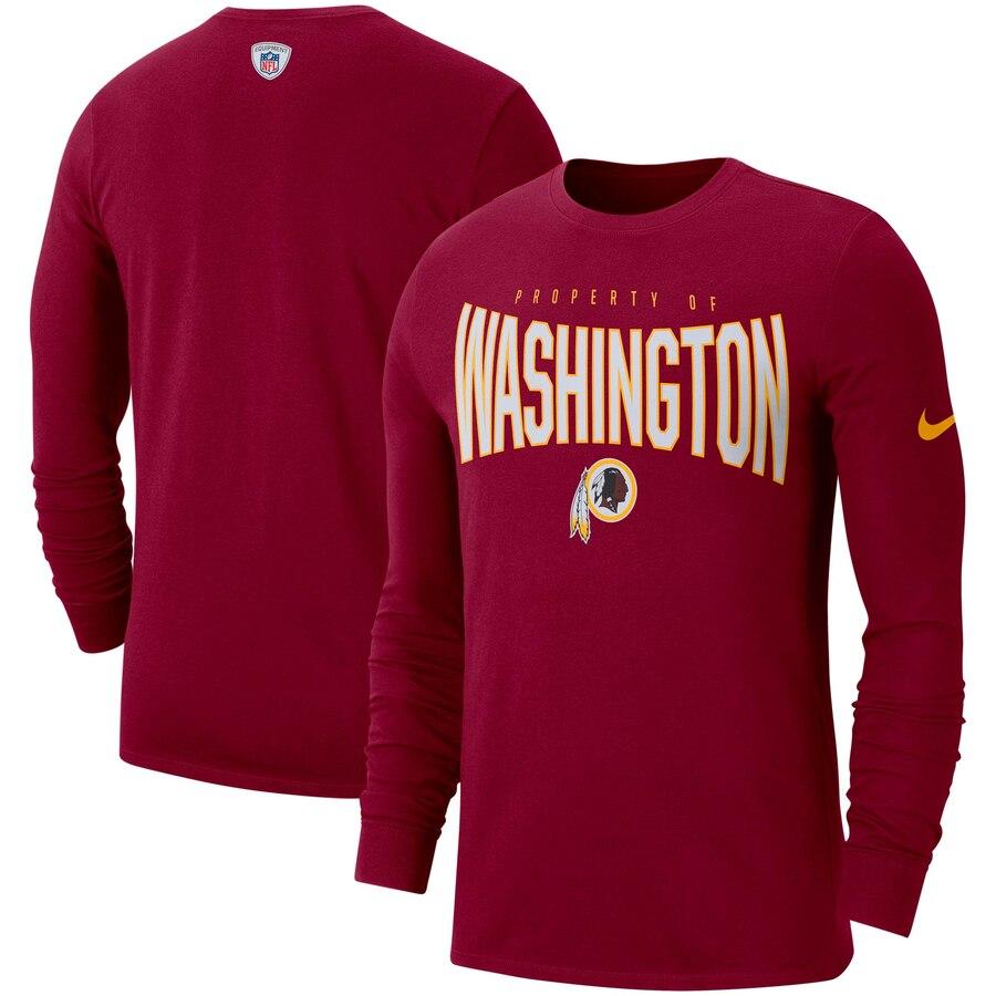 Washington Redskins Nike Sideline Property Of Performance Long Sleeve T-Shirt Burgundy