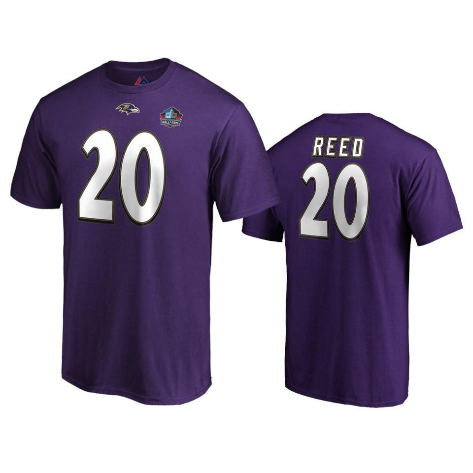 Baltimore Ravens #20 Ed Reed Purple 2019 Hall Of Fame NFL T-Shirt