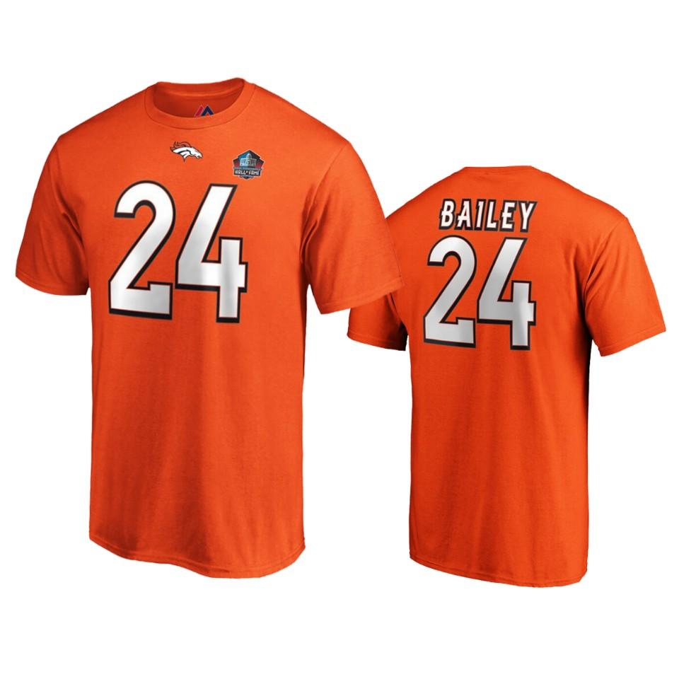 Denver Broncos #24 Champ Bailey Orange 2019 Hall Of Fame NFL T-Shirt