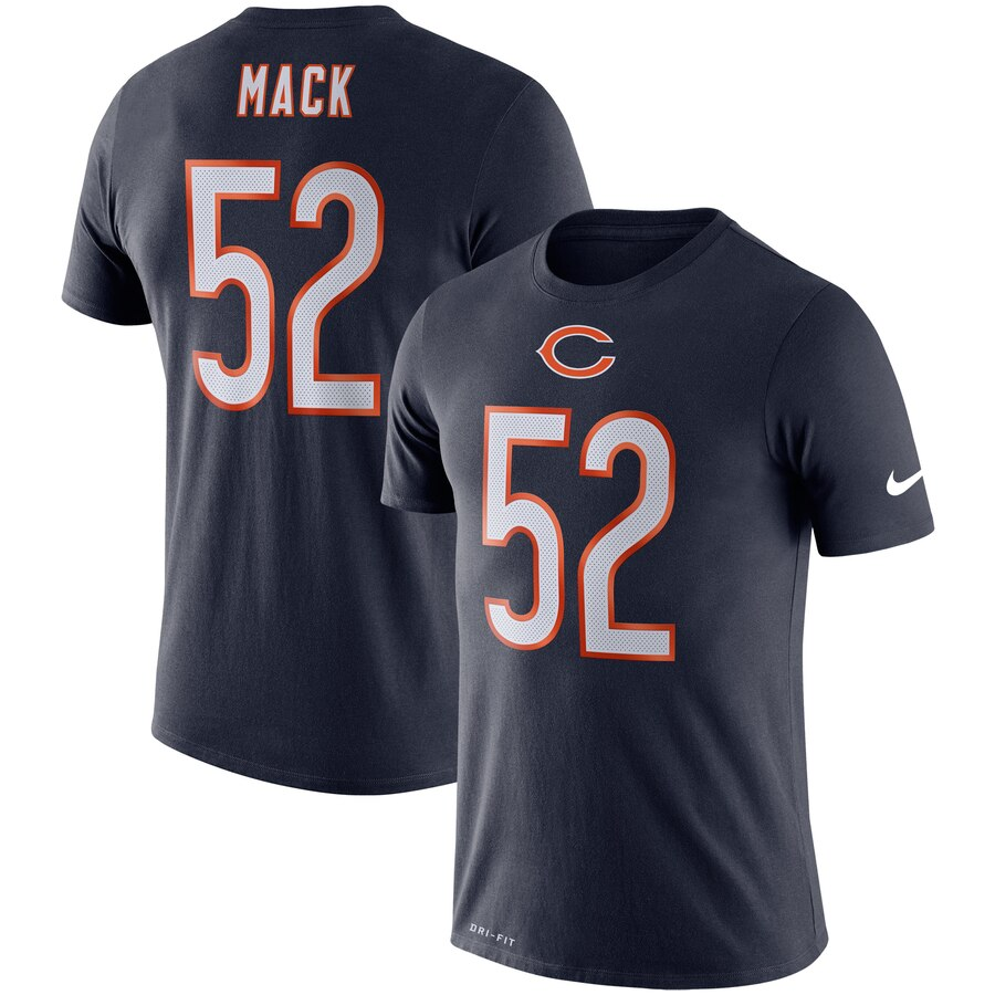 Chicago Bears #52 Khalil Mack Nike Player Pride 3.0 Performance Name & Number T-Shirt Navy