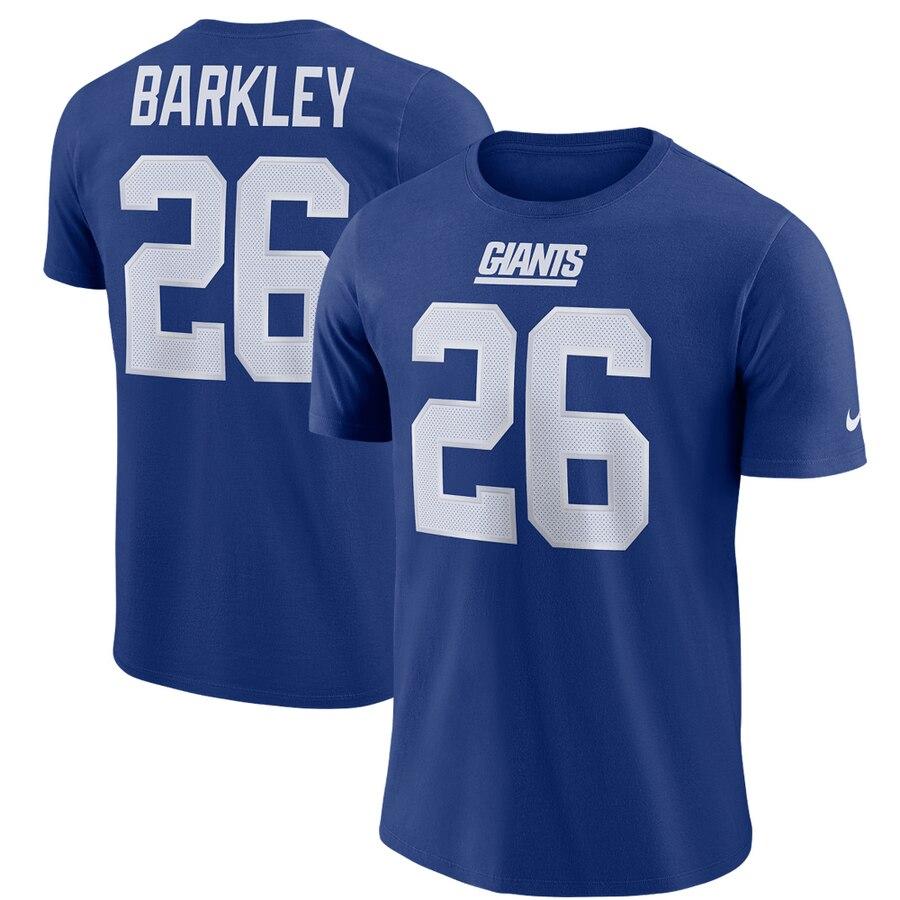 New York Giants #26 Saquon Barkley Nike Dri-FIT Player Pride 3.0 Name & Number T-Shirt Royal
