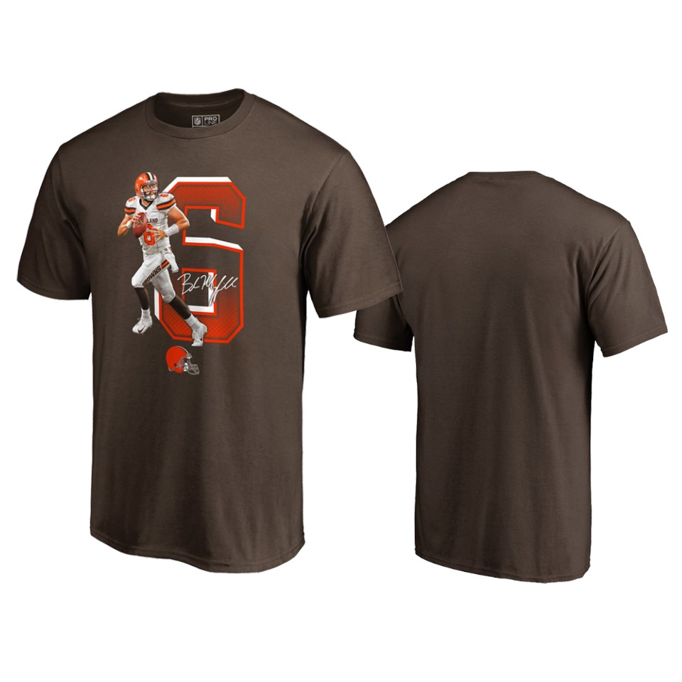 Cleveland Browns #6 Baker Mayfield Brown Men's Player Graphic Powerhouse T-Shirt