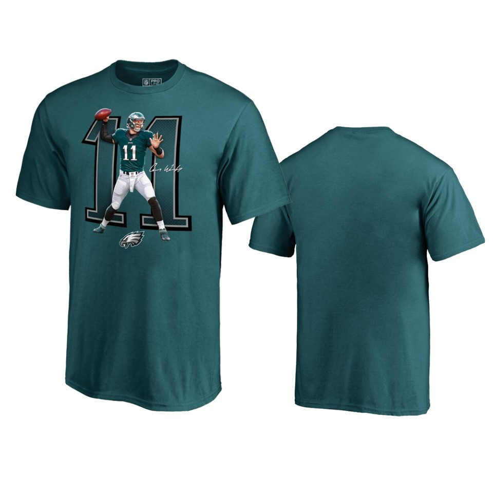 Philadelphia Eagles #11 Carson Wentz Midnight Green Men's Player Graphic Powerhouse T-Shirt