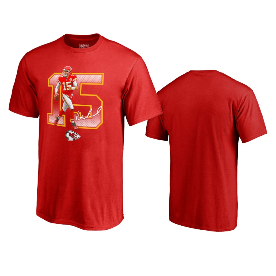 Kansas City Chiefs #15 Patrick Mahomes Red Men's Player Graphic Powerhouse T-Shirt