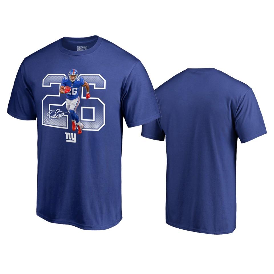 New York Giants #26 Saquon Barkley Royal Men's Player Graphic Powerhouse T-Shirt