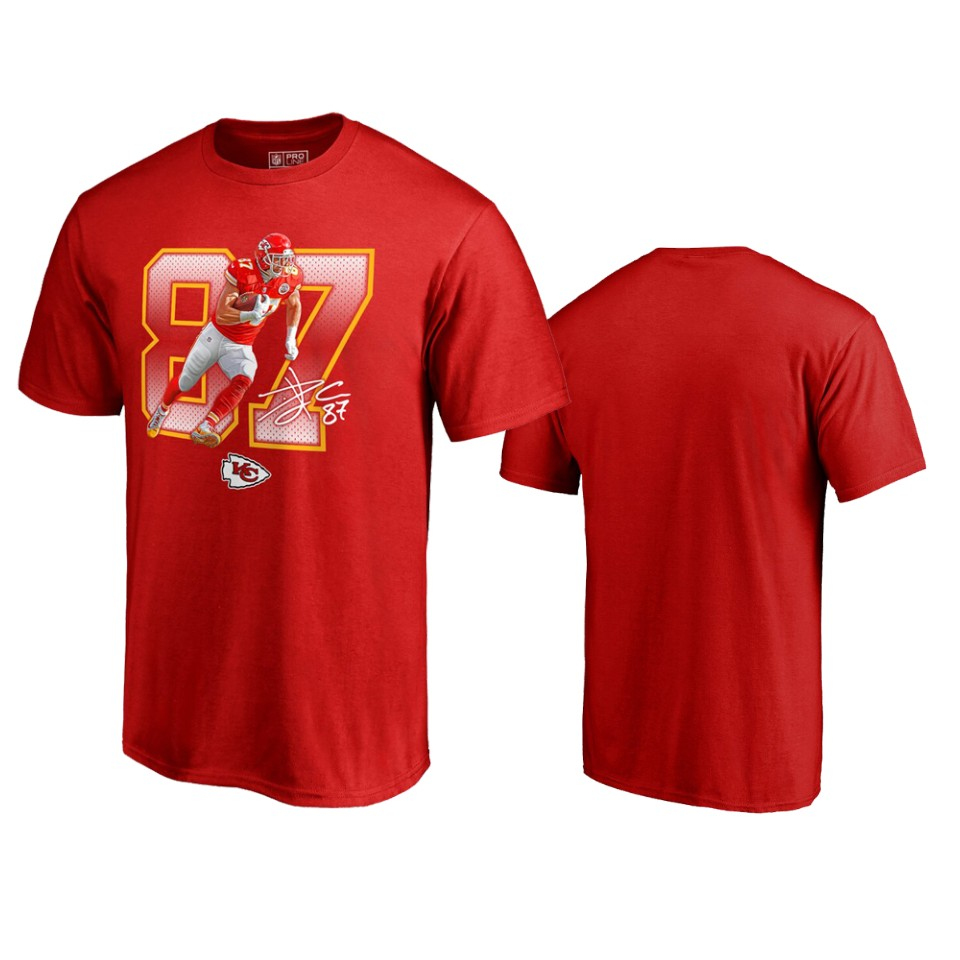 Kansas City Chiefs #87 Travis Kelce Red Men's Player Graphic Powerhouse T-Shirt