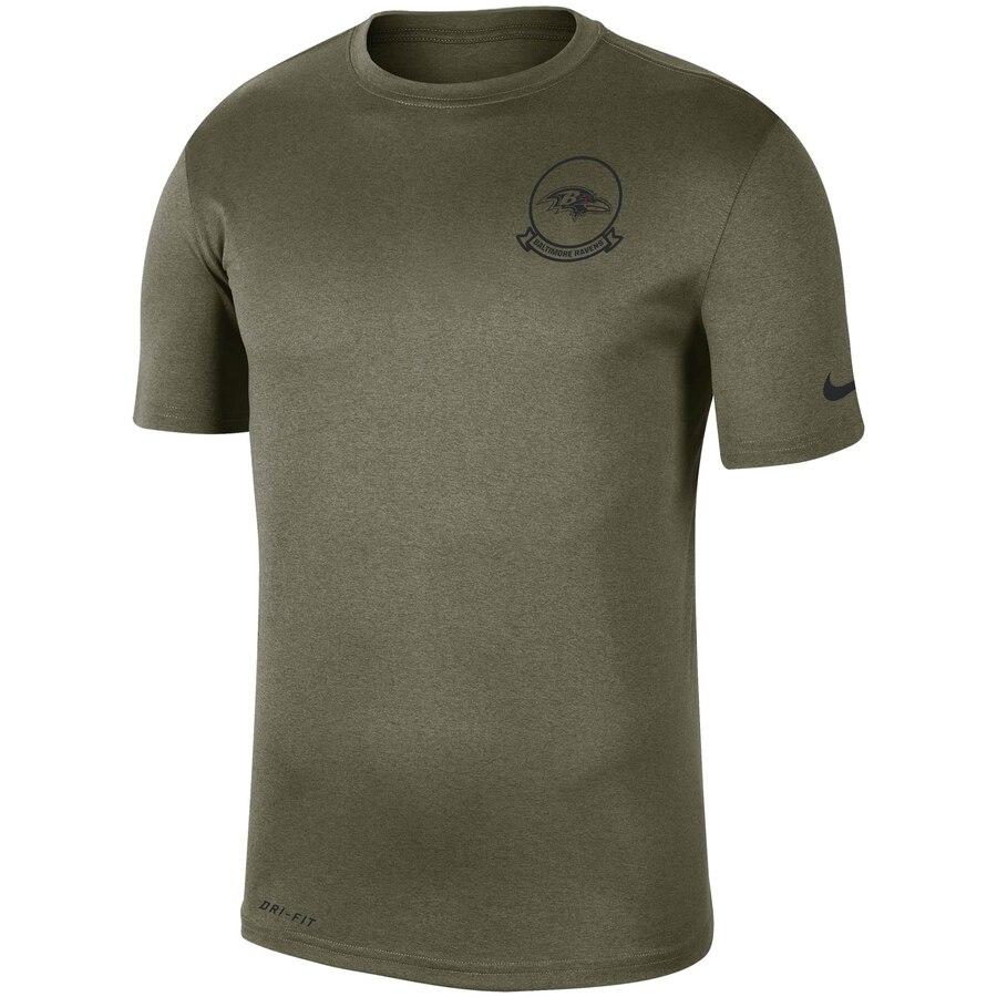 Men's Baltimore Ravens Nike Olive 2019 Salute to Service Sideline Seal Legend Performance T-Shirt