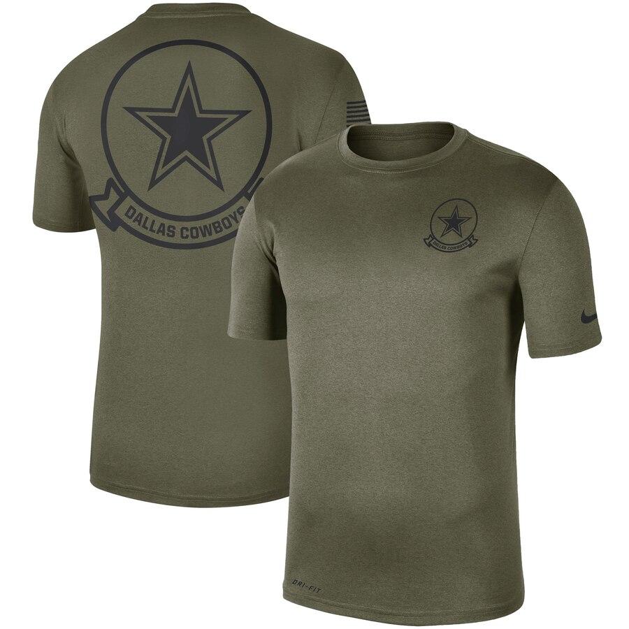 Men's Dallas Cowboys Nike Olive 2019 Salute to Service Sideline Seal Legend Performance T-Shirt