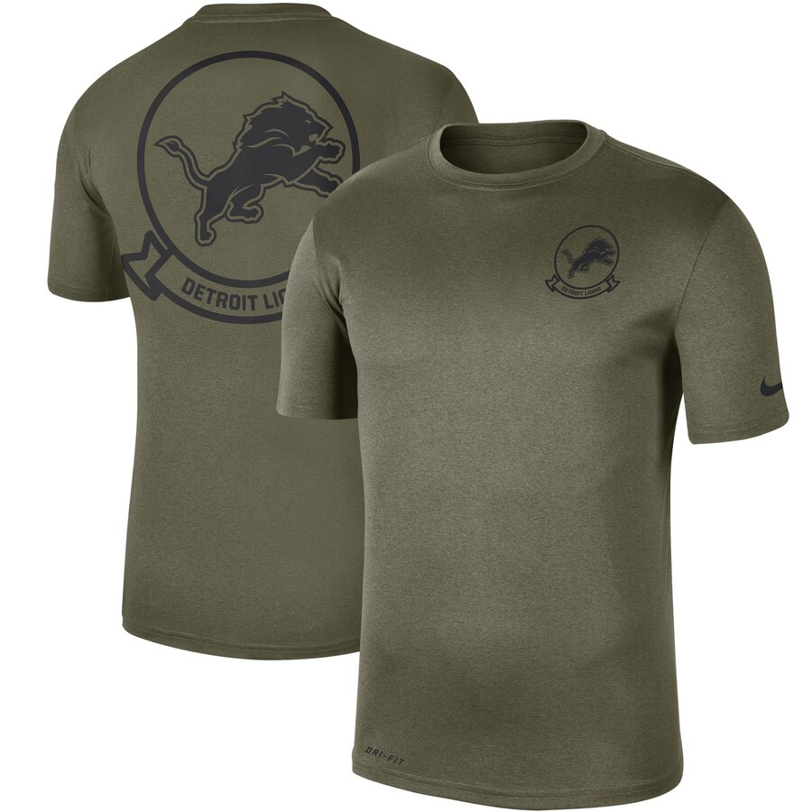Men's Detroit Lions Nike Olive 2019 Salute to Service Sideline Seal Legend Performance T-Shirt