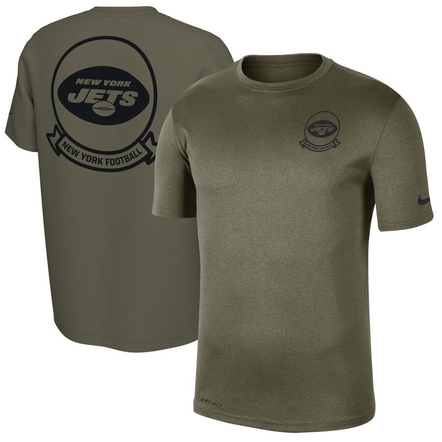 Men's New York Jets Nike Olive 2019 Salute to Service Sideline Seal Legend Performance T-Shirt
