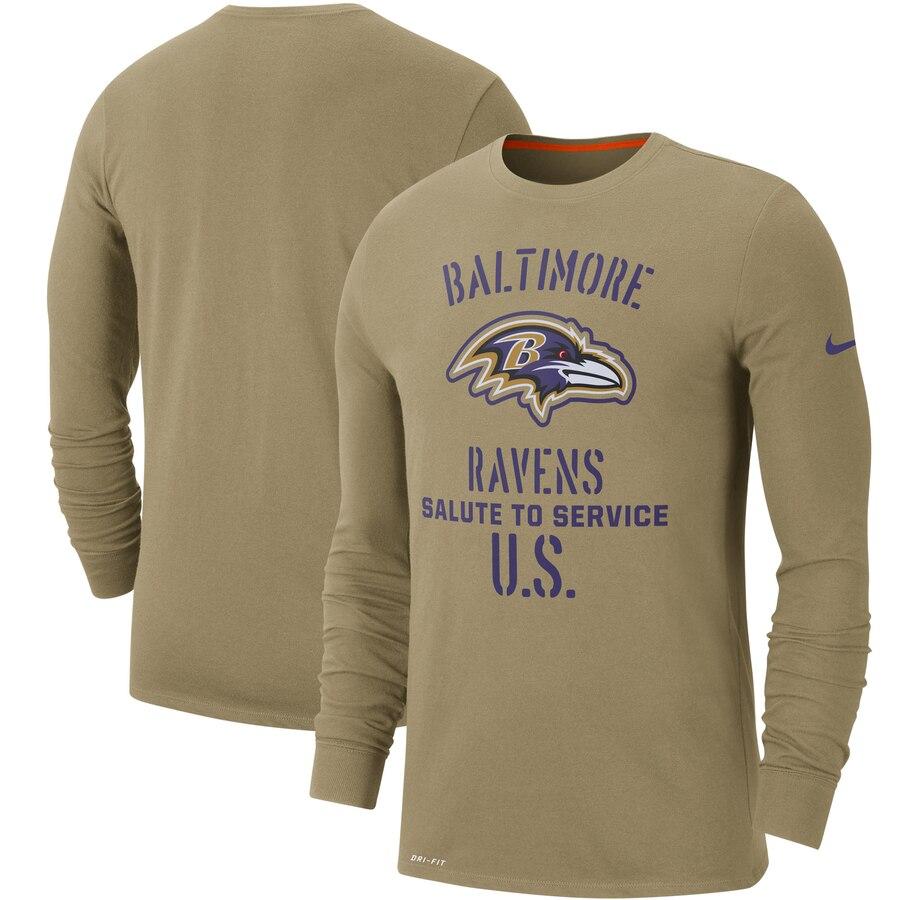Men's Baltimore Ravens Nike Tan 2019 Salute to Service Sideline Performance Long Sleeve Shirt