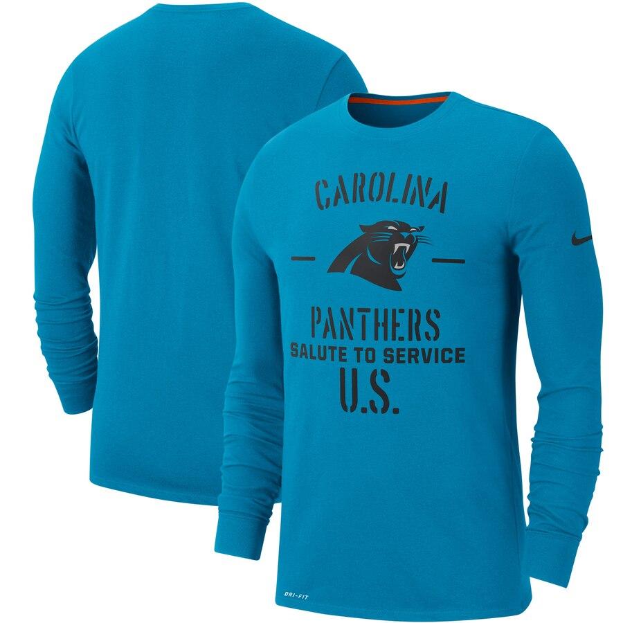 Men's Carolina Panthers Nike Blue 2019 Salute to Service Sideline Performance Long Sleeve Shirt