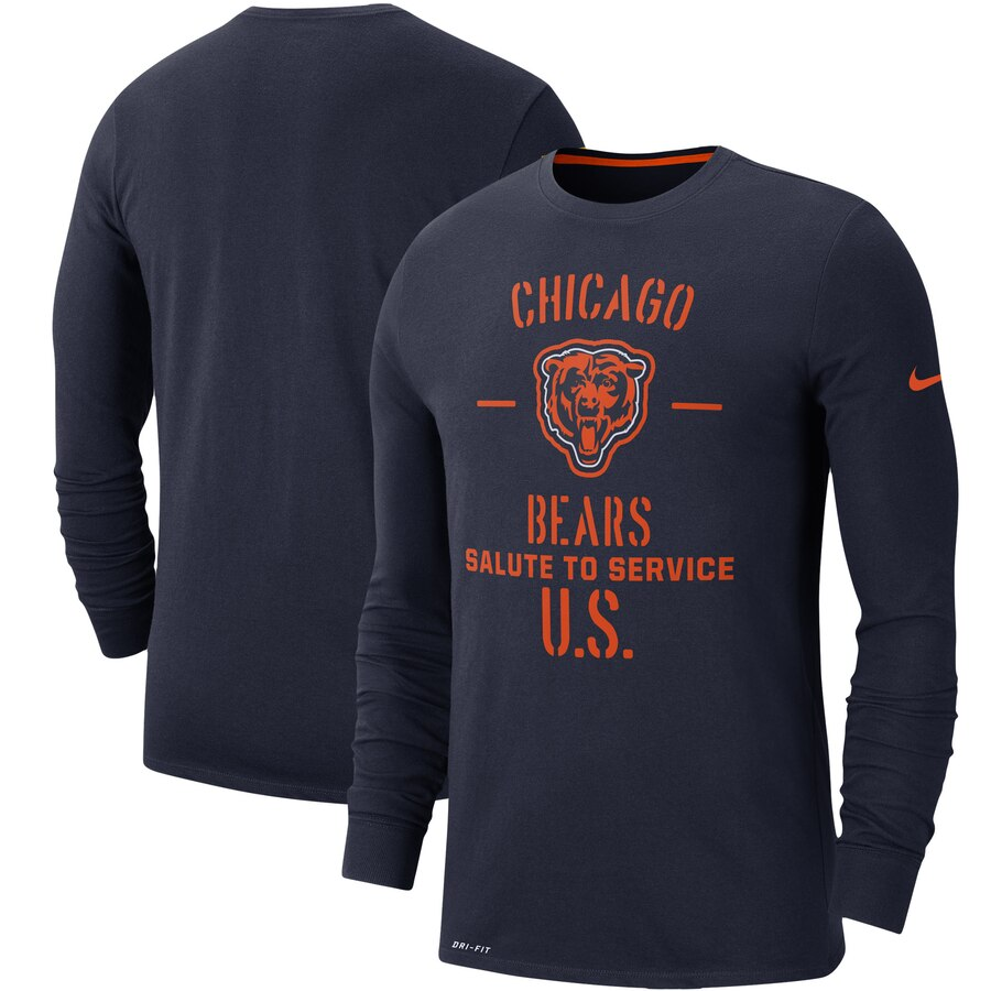 Men's Chicago Bears Nike Navy 2019 Salute to Service Sideline Performance Long Sleeve Shirt