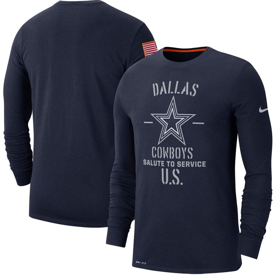 Men's Dallas Cowboys Nike Navy 2019 Salute to Service Sideline Performance Long Sleeve Shirt