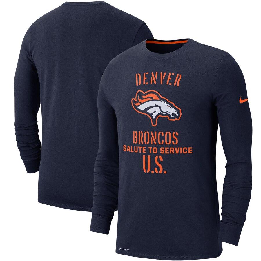 Men's Denver Broncos Nike Navy 2019 Salute to Service Sideline Performance Long Sleeve Shirt