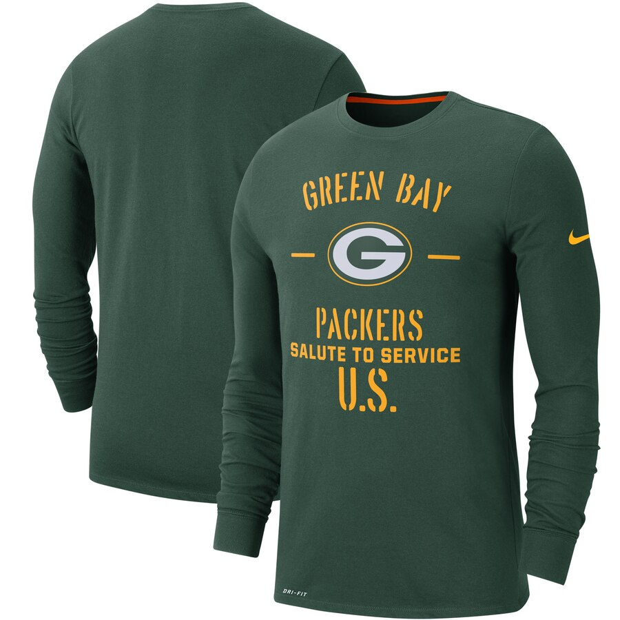 Men's Green Bay Packers Nike Green 2019 Salute to Service Sideline Performance Long Sleeve Shirt
