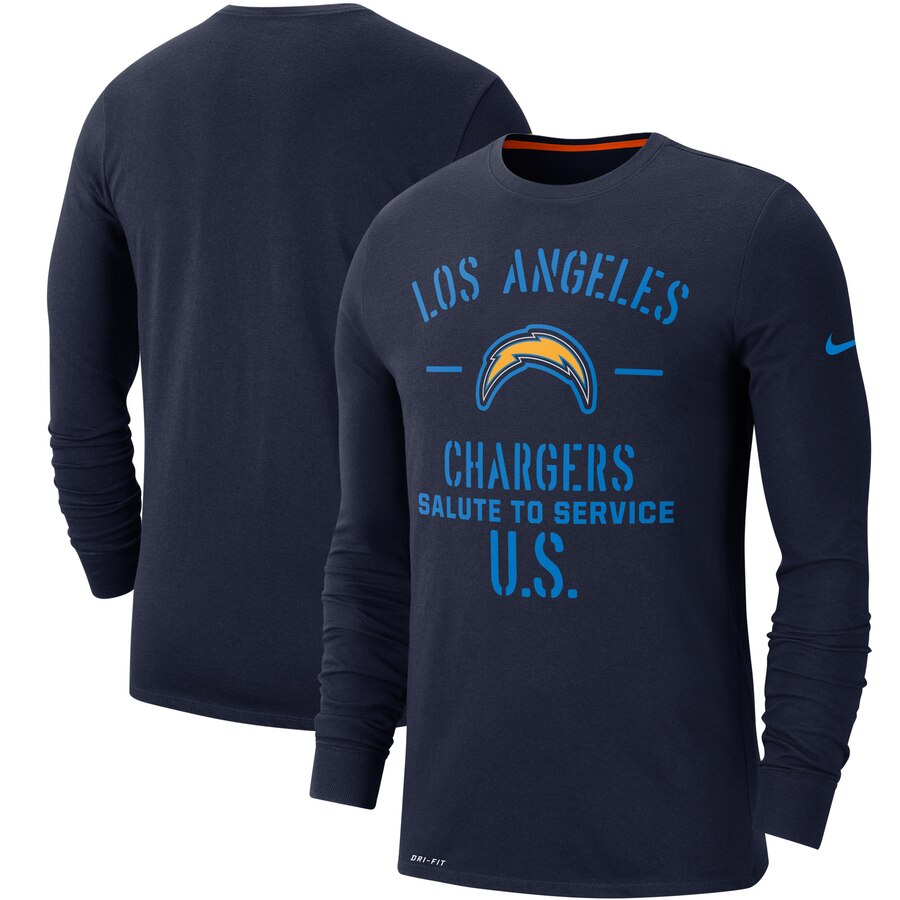 Men's Los Angeles Chargers Nike Navy 2019 Salute to Service Sideline Performance Long Sleeve Shirt