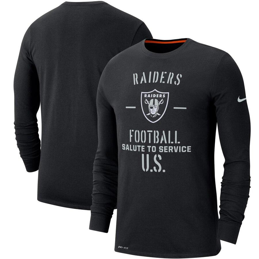 Men's Oakland Raiders Nike Black 2019 Salute to Service Sideline Performance Long Sleeve Shirt