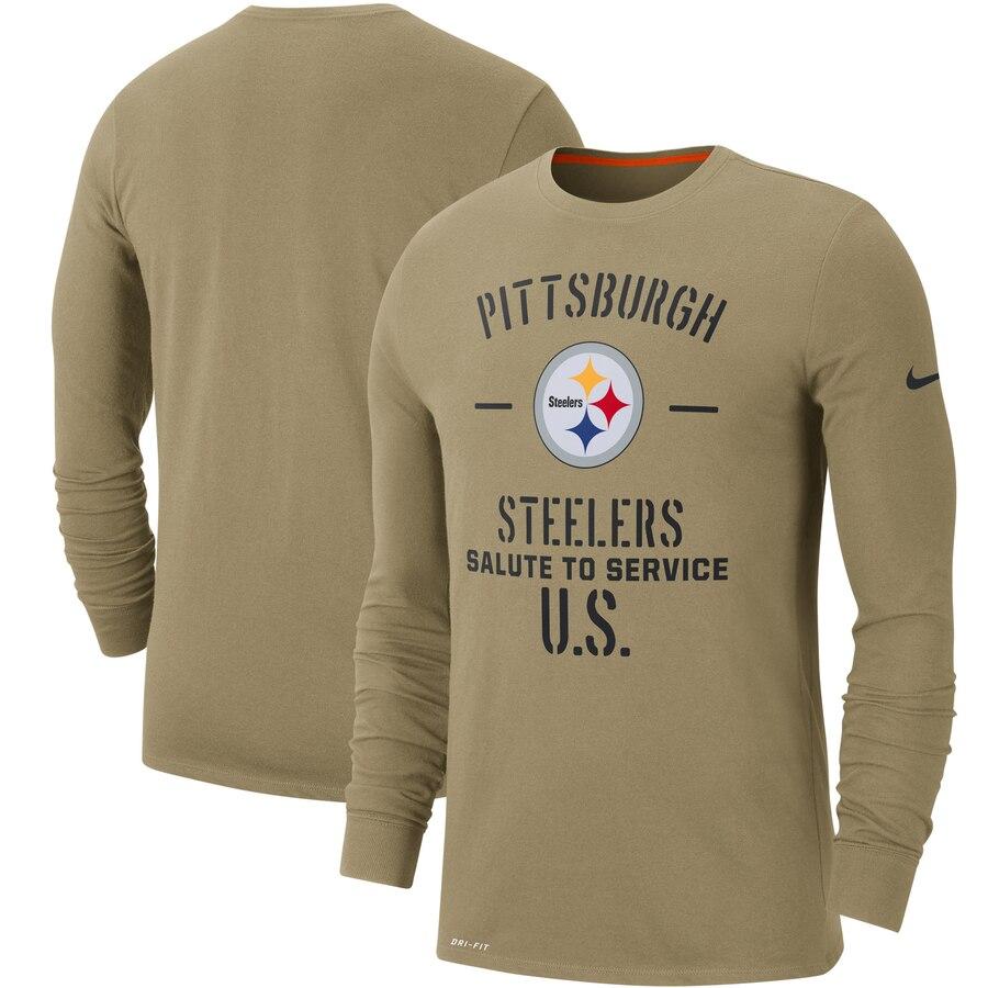 Men's Pittsburgh Steelers Nike Tan 2019 Salute to Service Sideline Performance Long Sleeve Shirt