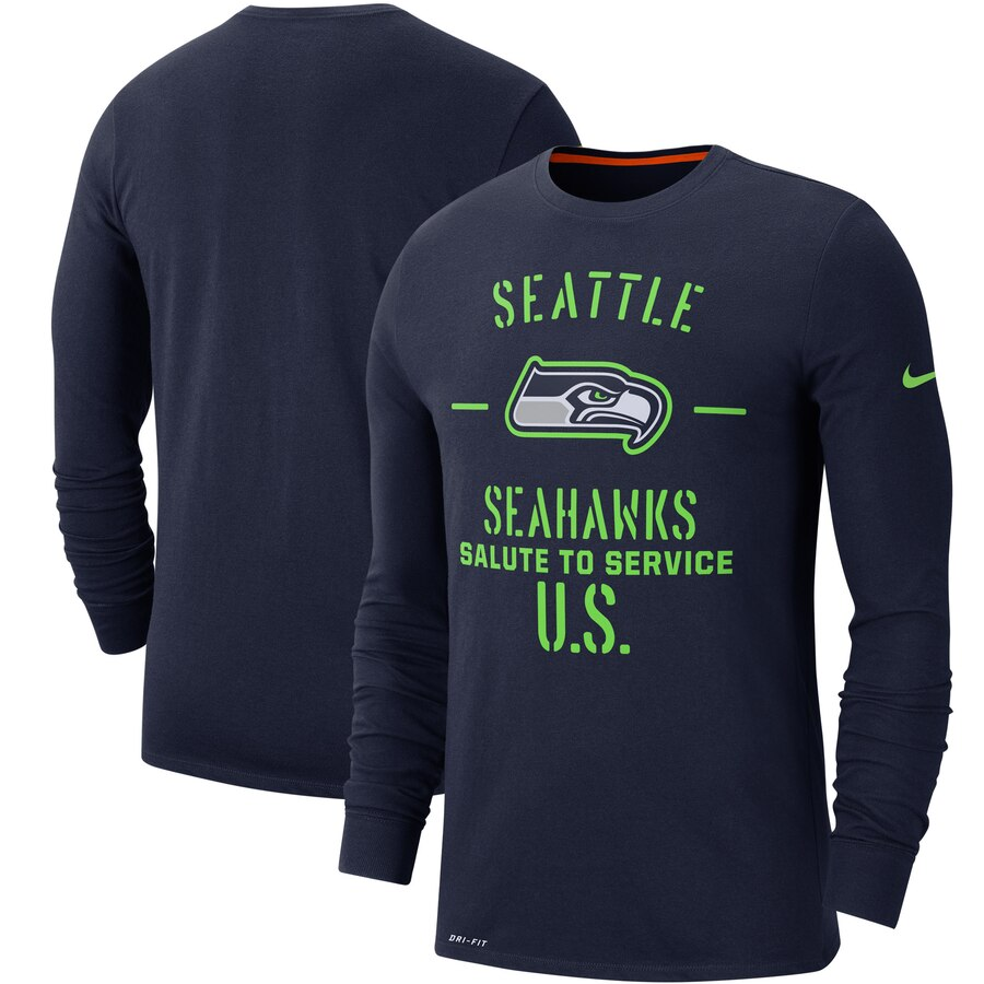 Men's Seattle Seahawks Nike College Navy 2019 Salute to Service Sideline Performance Long Sleeve Shirt