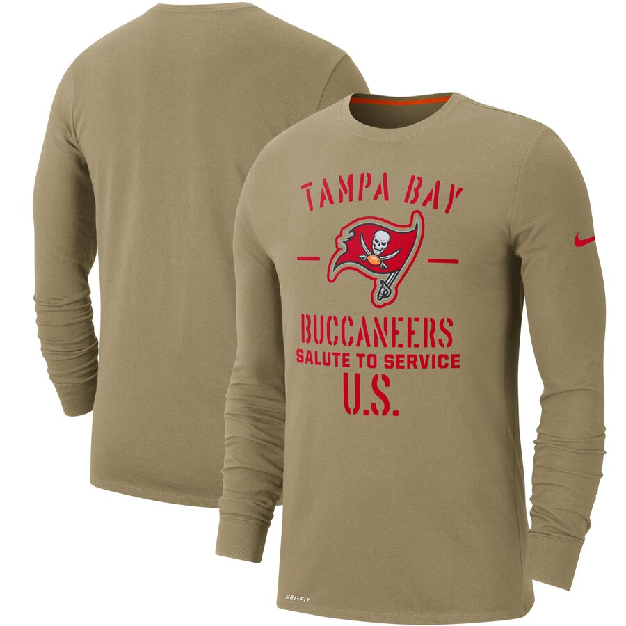 Men's Tampa Bay Buccaneers Nike Tan 2019 Salute to Service Sideline Performance Long Sleeve Shirt