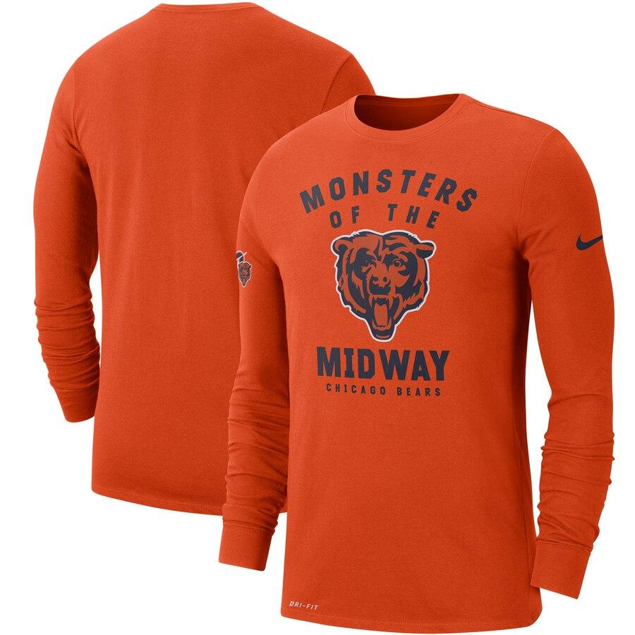 Chicago Bears Nike Sideline Local Performance Long Sleeve T-Shirt Orange
