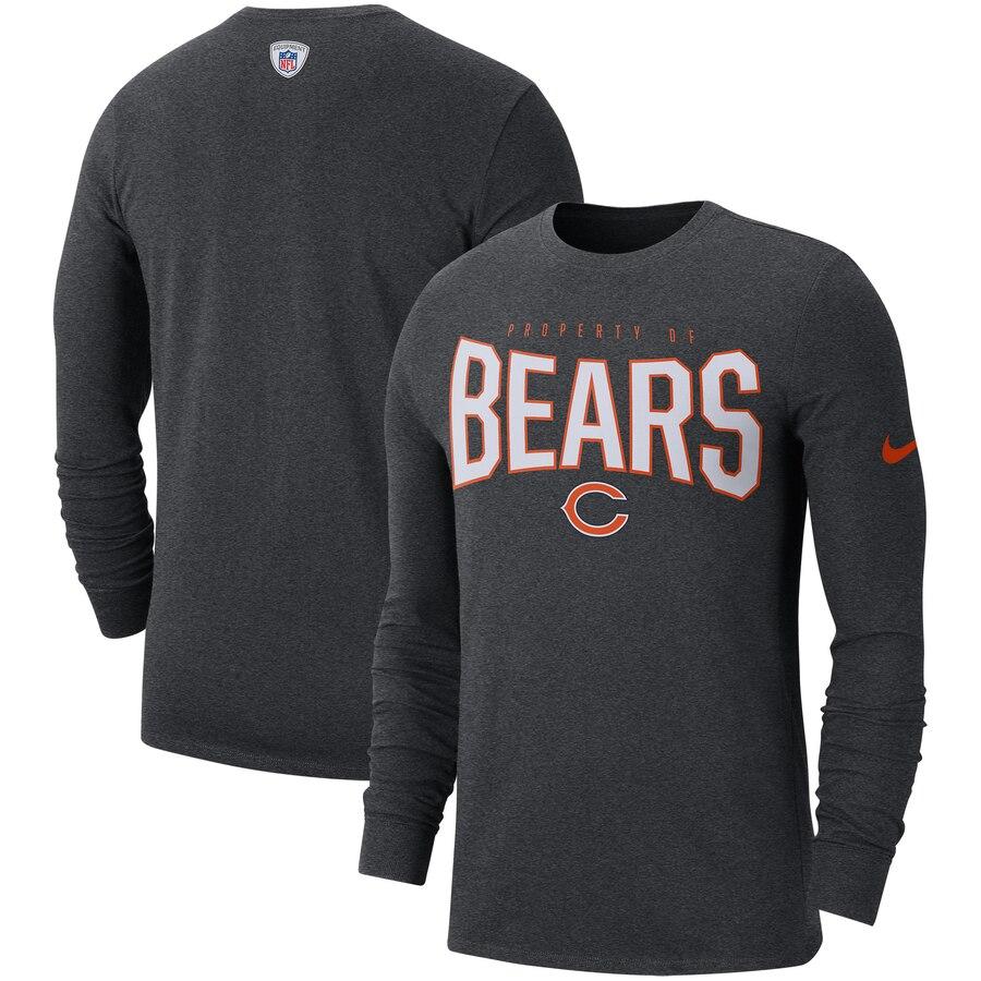 Chicago Bears Nike Sideline Property Of Performance Long Sleeve T-Shirt Heathered Charcoal