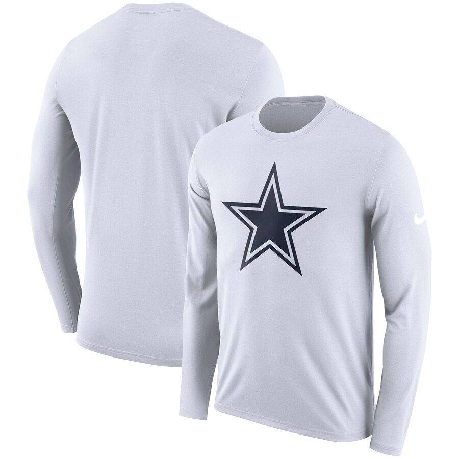 Dallas Cowboys Nike Fan Gear Primary Logo Performance Long Sleeve T-Shirt White